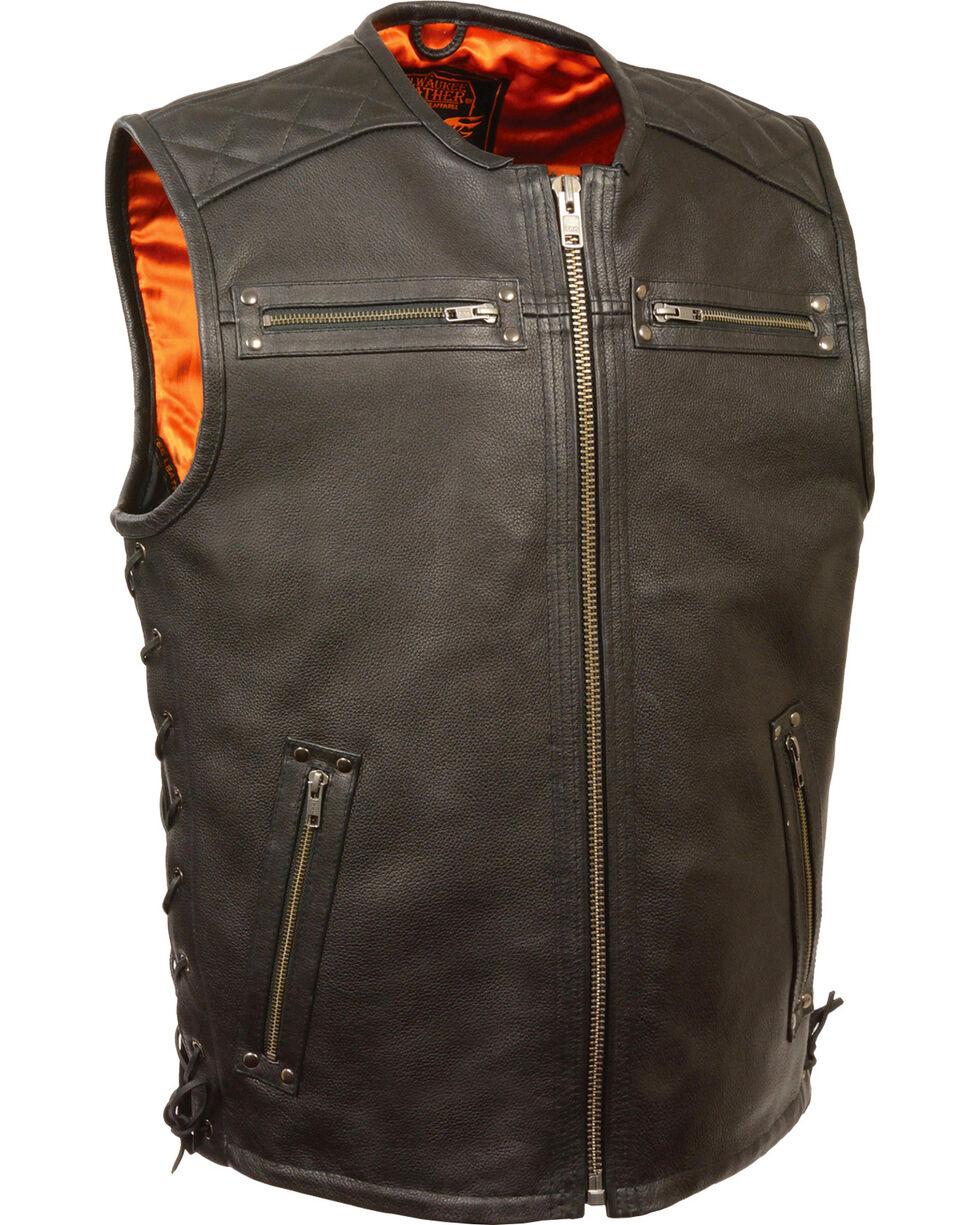 Milwaukee Leather Men's Zipper Front Full Side Lace Leather Vest - 4X, Black, hi-res