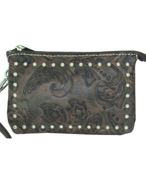 Savana Women's Tooled Event Approved Wristlet, Brown, hi-res
