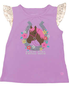 Farm Girl Infant Girls' Flower Horse Cap Sleeve Shirt , Purple, hi-res