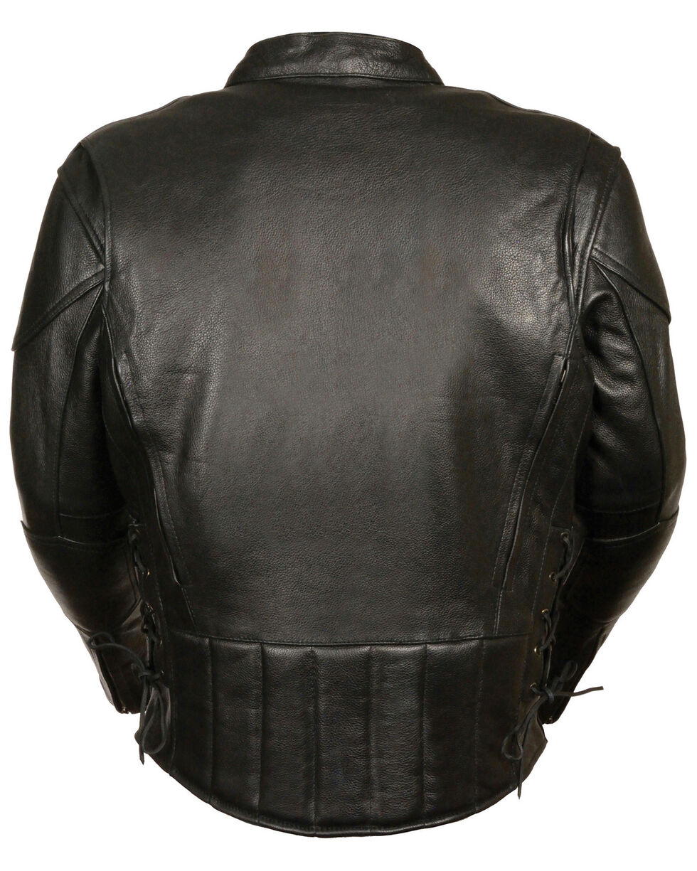 Milwaukee Leather Men's Lace Side Vented Scooter Jacket - 5X, Black, hi-res