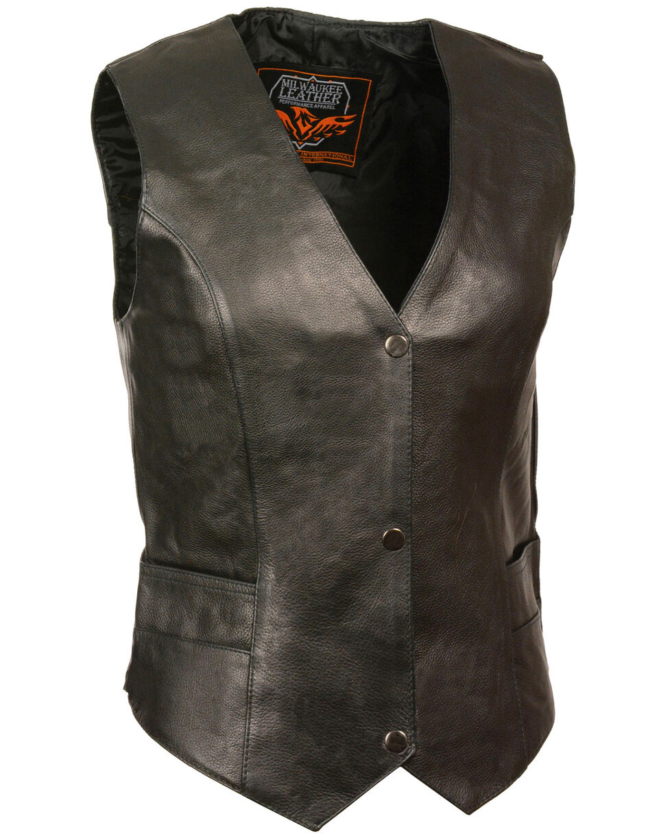 Milwaukee Leather Women's Classic Snap Front Vest, Black, hi-res