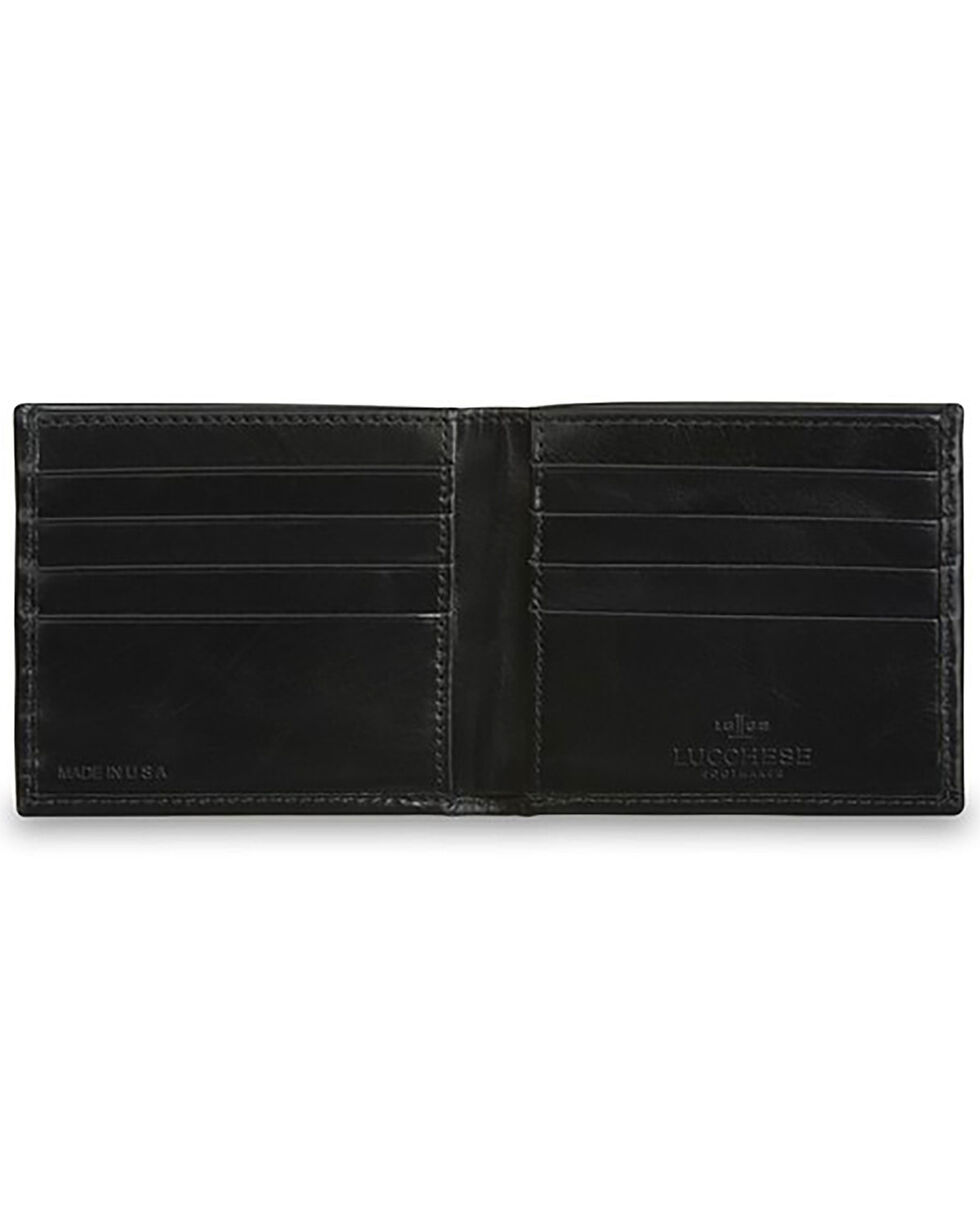 Lucchese Men's Black Leather Hipster Wallet, Black, hi-res