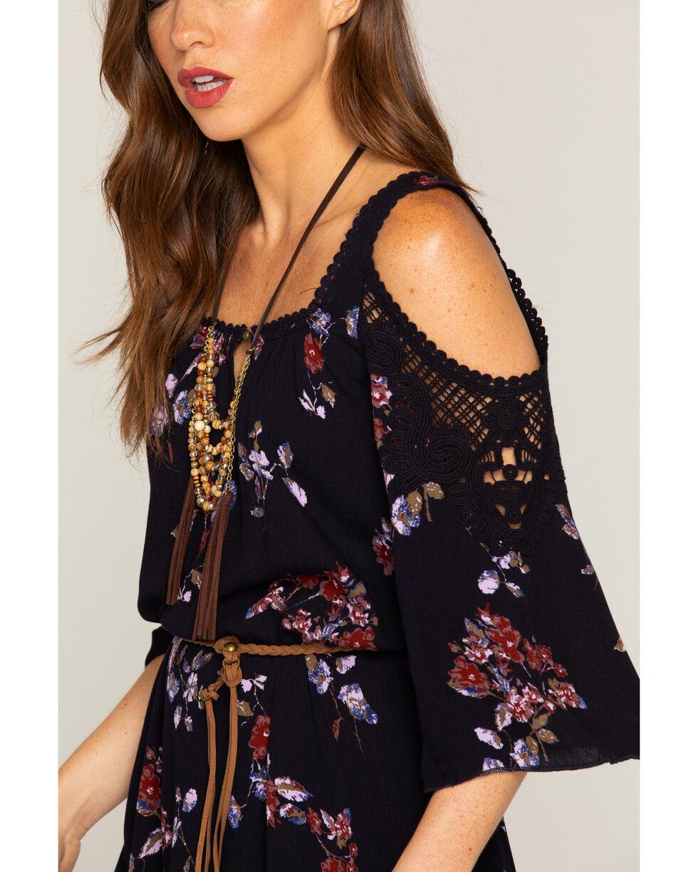 Shyanne Women's Floral Cold Shoulder Crochet Dress, Navy, hi-res