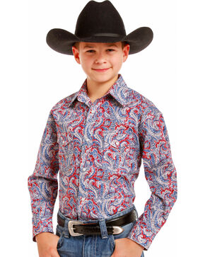 Rough Stock Boys' Ferintino Print Shirt , Multi, hi-res