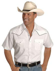 Ely Short Sleeve White Western Shirt, White, hi-res