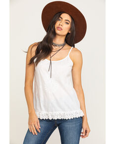 Five Star Women's Floral Embroidery Lurex Tank Top , White, hi-res