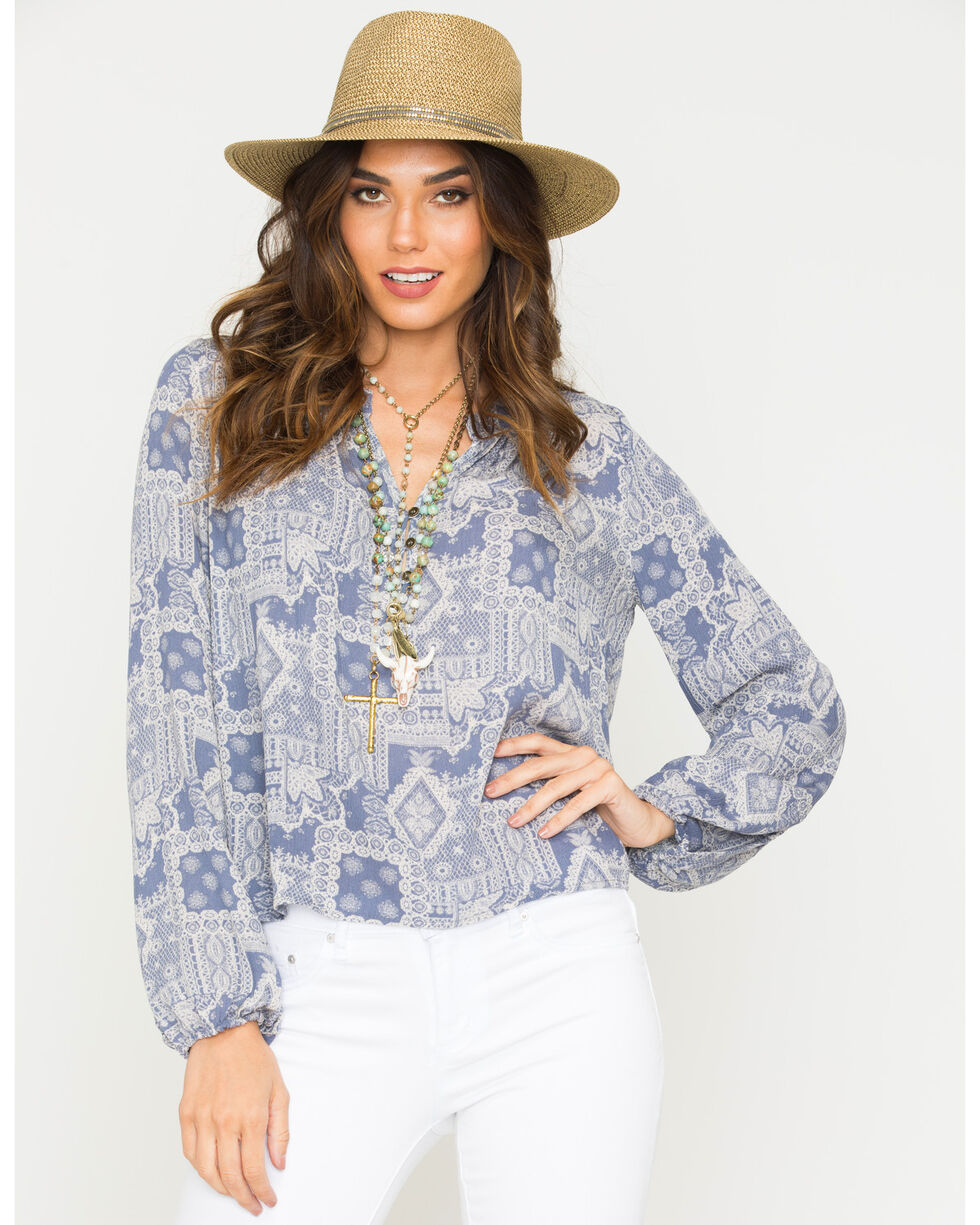 Sage the Label Women's Knots Blouse , Blue, hi-res