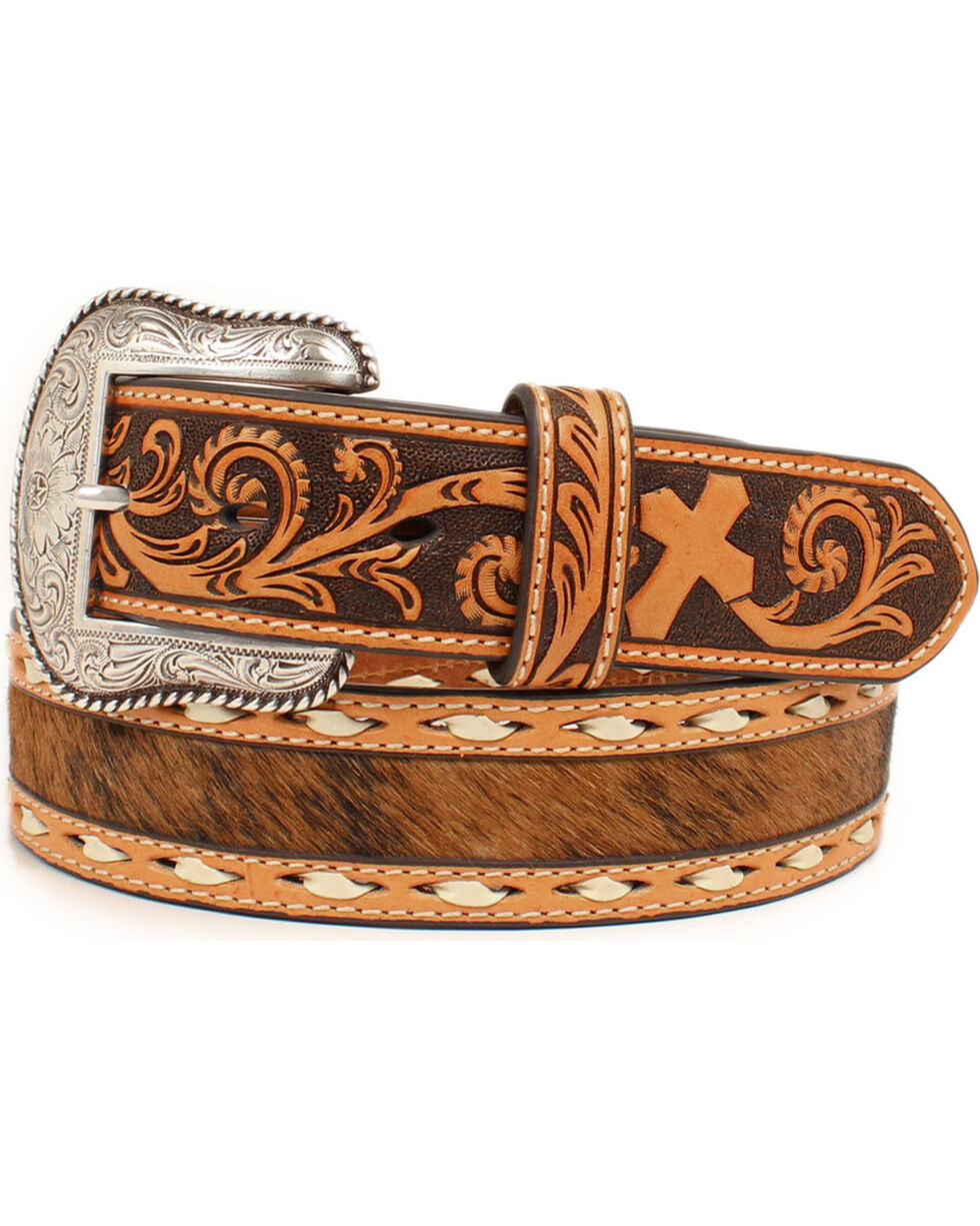 Nocona Men's Cross Embossed Calf Hair Western Belt , Natural, hi-res