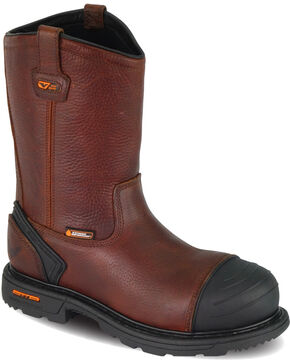 "Thorogood Men's 10"" Waterproof Wellington Work Boots - Composite Toe, Brown, hi-res"