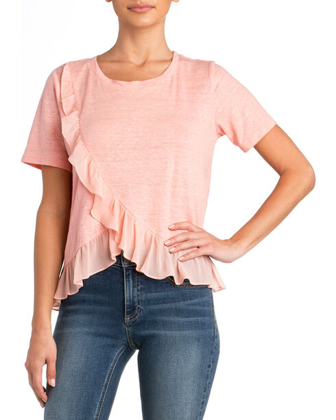 Miss Me Women's Ruffle Detail Top, Pink, hi-res