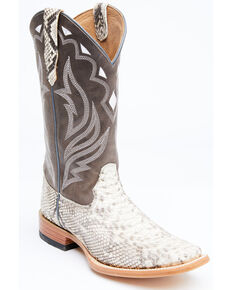 Cody James Men's Grey Python Western Boots - Wide Square Toe, Grey, hi-res