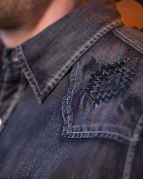 Ryan Michael Men's Embroidered Black Denim Shirt, Black, hi-res