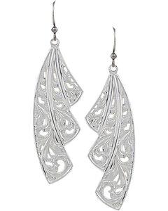 Montana Silversmiths Western Lace Fan Leaf Earrings, Silver, hi-res