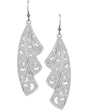 Montana Silversmiths Western Lace Fan Leaf Earrings, Silver, hi-res