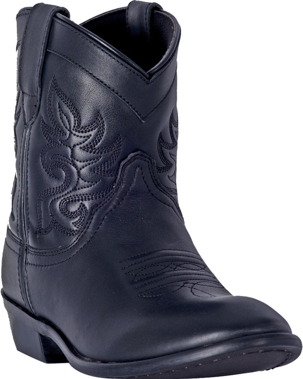 Dingo Women's Black Willie Leather Short Boots - Round Toe , Black, hi-res