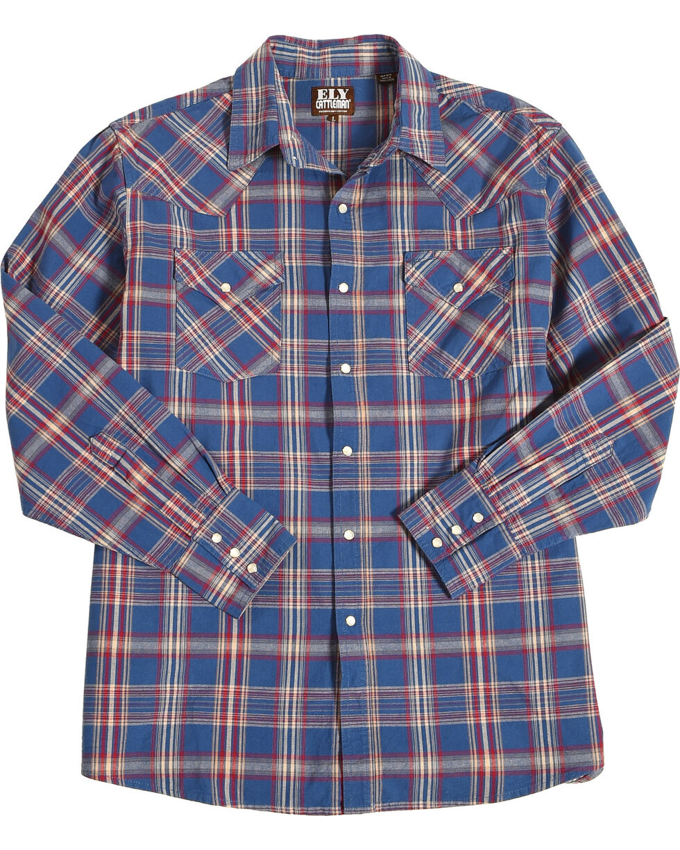 Ely Cattleman Men's Navy Western Plaid Denim Shirt , Navy, hi-res