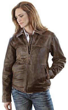 STS Ranchwear Women's Rifleman Brown Leather Jacket, Brown, hi-res