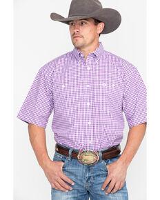 George Strait by Wrangler Men's Purple Check Plaid Short Sleeve Western Shirt, Purple, hi-res