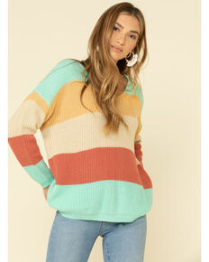 Rock & Roll Denim Women's Pastel Stripe Lace-Up Back Sweater, Turquoise, hi-res