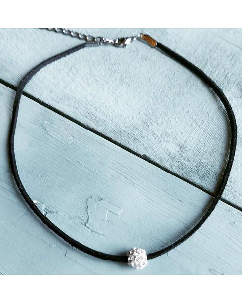 Jewelry Junkie Women's Floating Rhinestone Choker , Black, hi-res