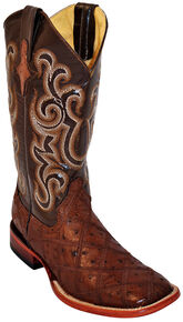Ferrini Ostrich Patchwork Exotic Western Boots - Wide Square Toe , Kango, hi-res