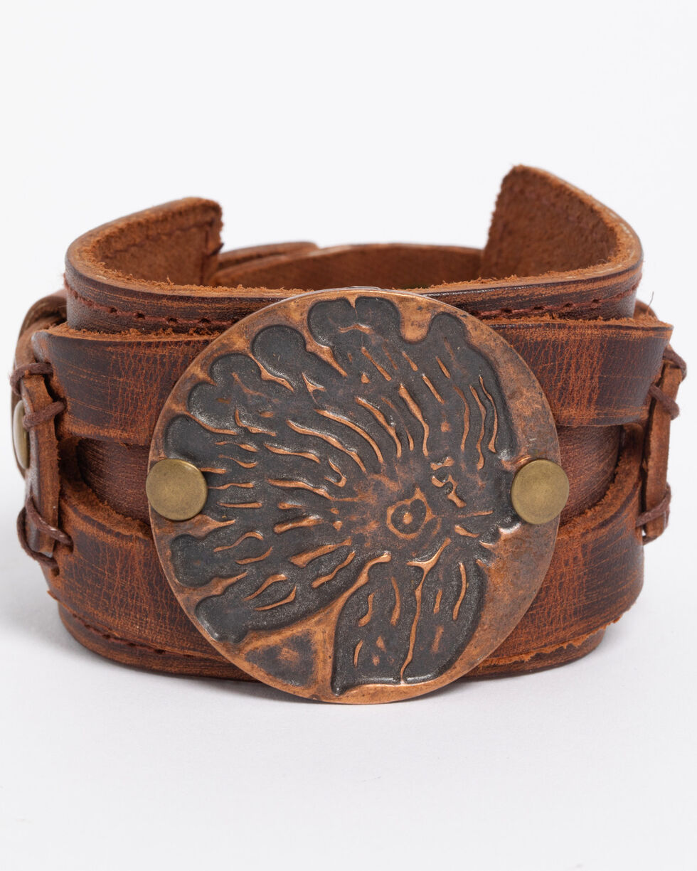 Jewelry Junkie Women's Copper Indian Headdress Cuff , Rust Copper, hi-res
