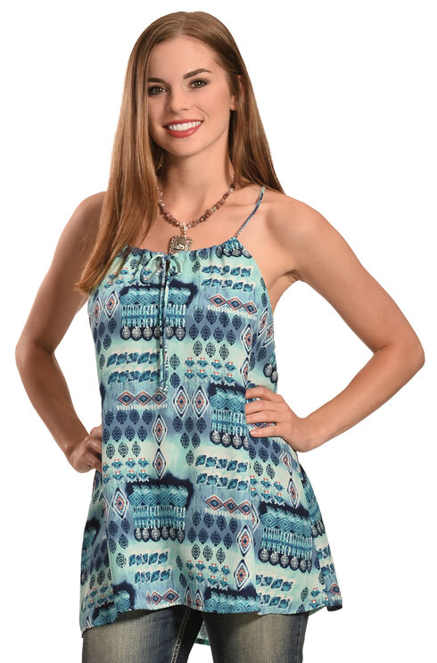 Jody of California Women's Printed Keyhole Sleeveless Top, Blue, hi-res