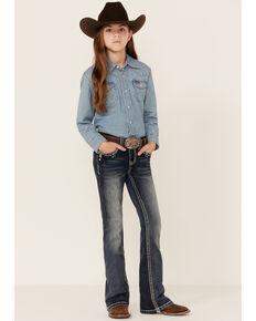 Grace In LA Girls Medium Wash Cowhide Eagle Pocket Bootcut Jeans , Blue, hi-res