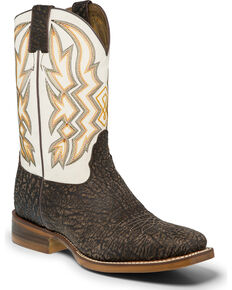 "Nocona Men's 11"" Chocolate Corteza Cowboy Boots - Square Toe, Chocolate, hi-res"