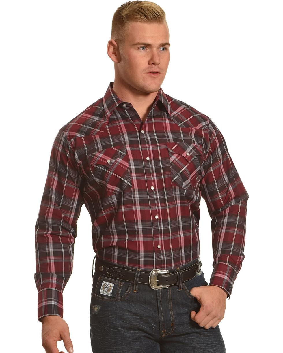Ely Cattleman Men's Burgundy Textured Plaid Shirt, Burgundy, hi-res