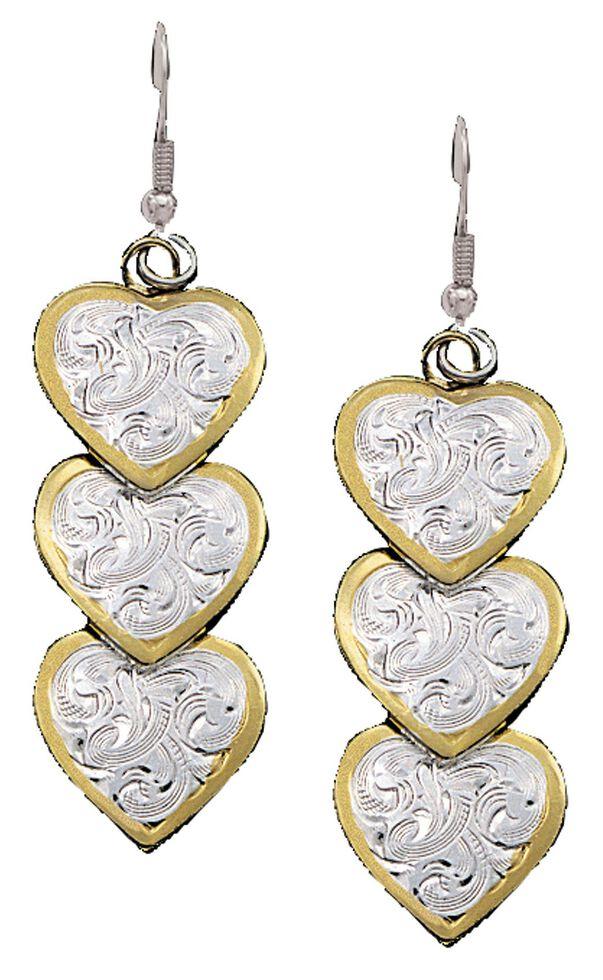 Montana Silversmiths Three Heart Dangle Earrings, Silver, hi-res