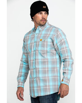 Wrangler Men's Flame-Resistant Plaid Shirt , Turquoise, hi-res