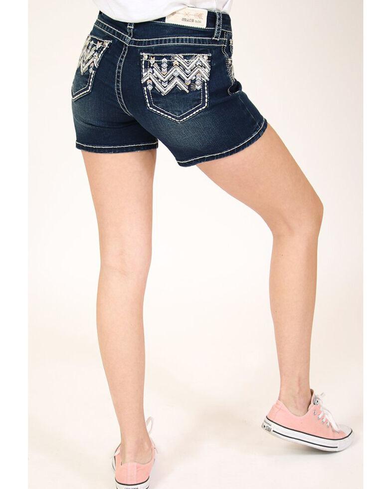 Grace in LA Women's Dark Wash Chevron Shorts , Blue, hi-res