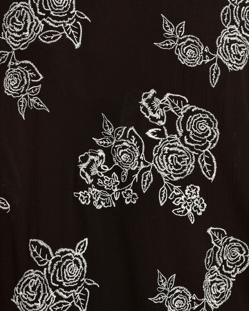 Luna Chix Women's Black Embroidered Rose Kimono , Black, hi-res