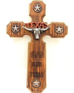 God Bless Texas Wooden Cross Wall Art, Brown, hi-res