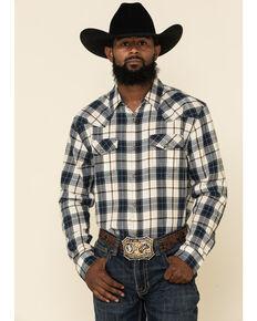 Cody James Men's Pinhurst Plaid Long Sleeve Western Flannel Shirt , Cream/blue, hi-res