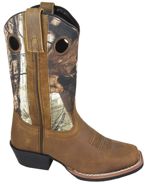 Smoky Mountain Boys' Mesa Camo Western Boots - Square Toe, Brown, hi-res