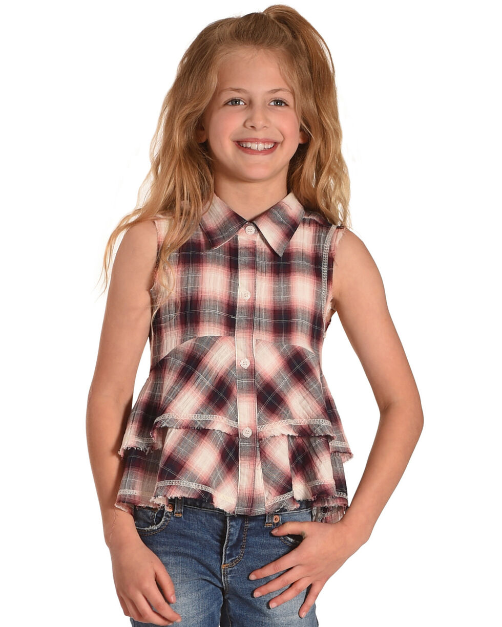 Idol Mind Girls' Plaid Studded Frilly Shirt, Brown, hi-res