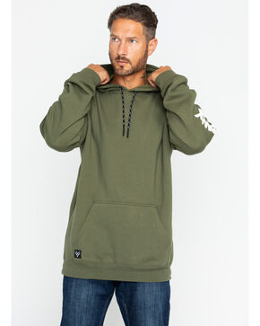Hawx® Men's Logo Sleeve Work Hoodie , Dark Green, hi-res