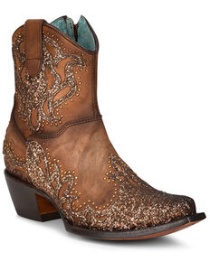 Corral Women's Shedron Laser Western Booties - Pointed Toe , Brown, hi-res
