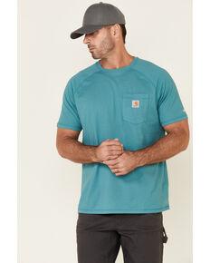 Carhartt Men's Force Cotton Delmont Short Sleeve Work T-Shirt , Blue, hi-res