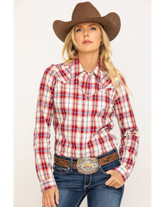 Amarillo Women's Red Plaid Long Sleeve Western Shirt, Red, hi-res