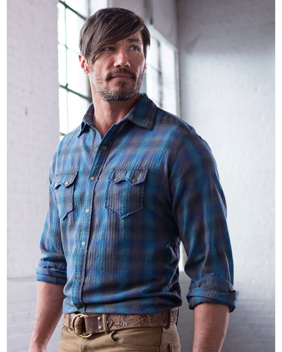 Ryan Michael Men's Lagoon Heather Ombre Plaid Shirt , Blue, hi-res