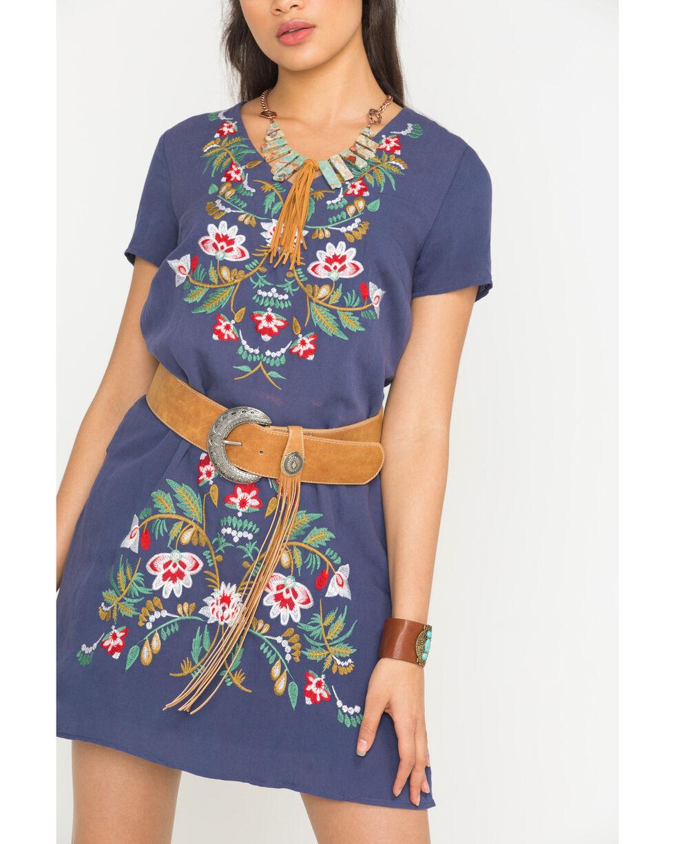Polagram Women's Navy Embroidered Short Sleeve Dress , , hi-res