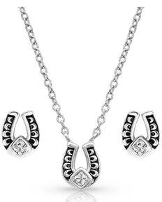 Montana Silversmiths Women's Keep A Little Luck Jewelry Set, Silver, hi-res