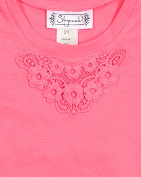 Shyanne Girls' Short Sleeve Floral Back Tee , Coral, hi-res