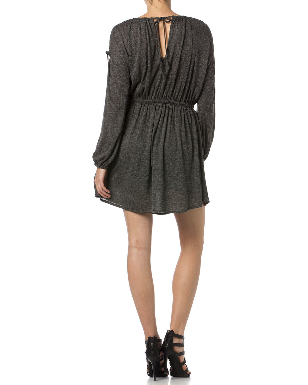 Miss Me Charcoal Open Shoulder Jersey Dress , Charcoal Grey, hi-res