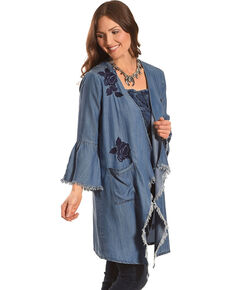 Billy T Women's Long Sleeve Embroidered Draped Kimono, Blue, hi-res