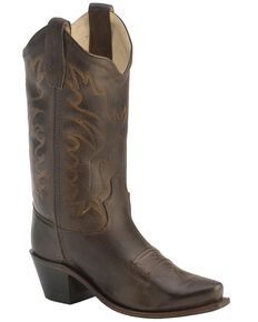 Old West Boys' Fashion Stitched Cowboy Boots - Snip Toe, Brown, hi-res