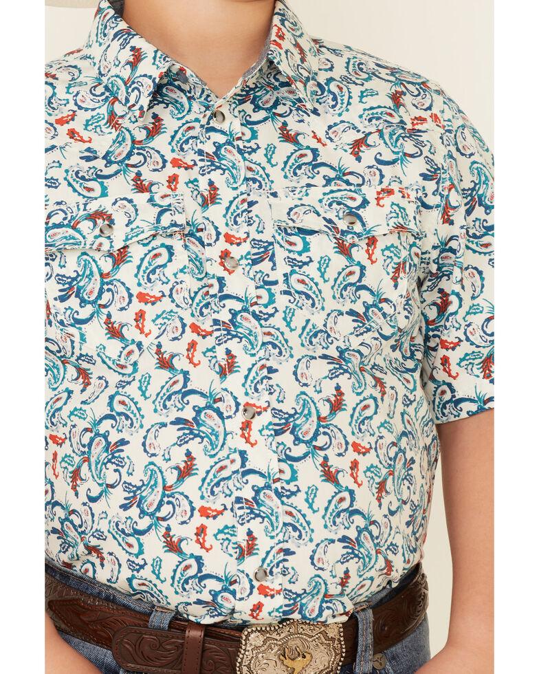 Cody James Boys' City Lights Paisley Print Short Sleeve Snap Western Shirt , Ivory, hi-res